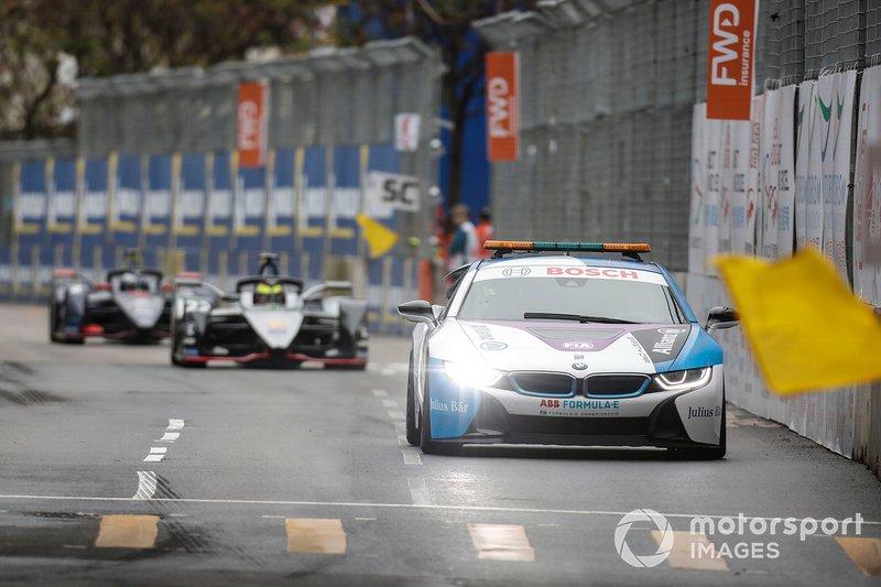 La BMW i8 Safety car Oliver Rowland, Nissan e.Dams, Nissan IMO1 prima della ripartenza