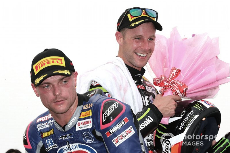 2. Jonathan Rea, Kawasaki Racing, 3. Alex Lowes, Pata Yamaha