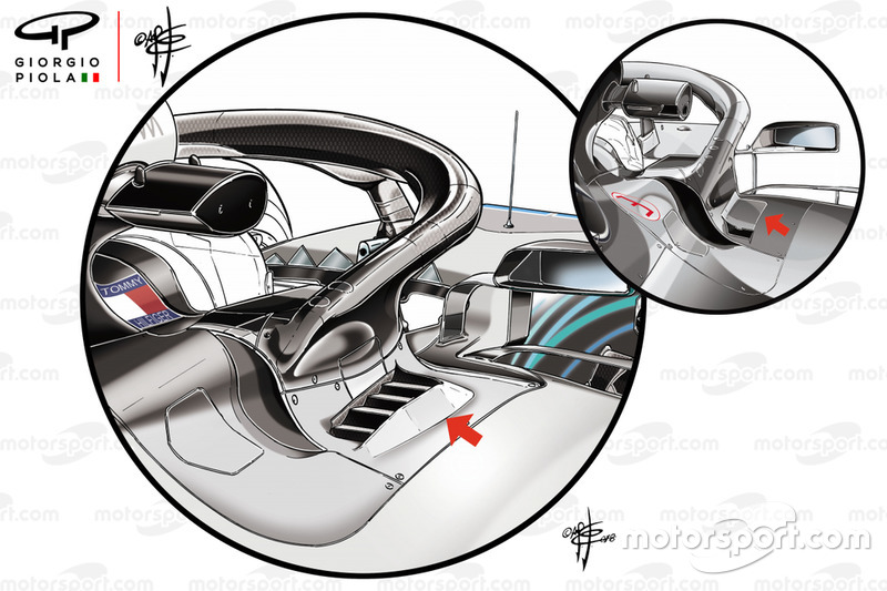 Mercedes W09 cockpit cooling panel comparison