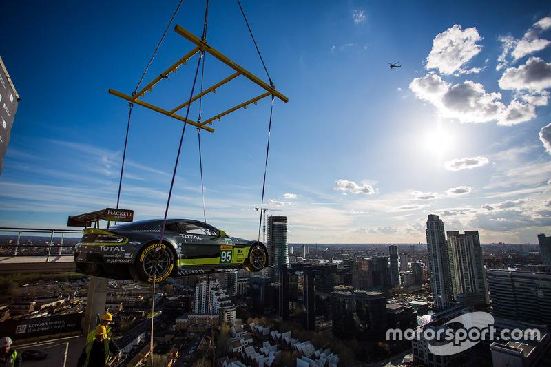 Aston Martin V8 Vantage GTE Challenger lift by crane