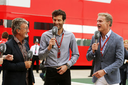 (L to R): Eddie Jordan with Mark Webber, Porsche Team WEC Driver / Channel 4 Presenter and David Coulthard, Red Bull Racing and Scuderia Toro Advisor / Channel 4 F1 Commentator