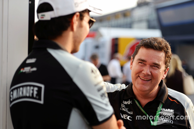 (L to R): Sergio Perez, Sahara Force India F1 with Steve Curnow, Sahara Force India F1 Team Commercial Director
