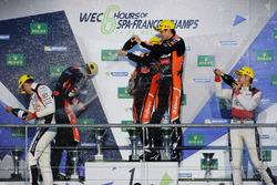 Podium LMP2: first place Roman Rusinov, Pierre Thiriet, Alex Lynn, G-Drive Racing, second place Julien Canal, Bruno Senna, Nicolas Prost, Vaillante Rebellion Racing, third place Ho-Pin Tung, Oliver Jarvis, Thomas Laurent, DC Racing