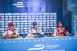 Winner Sam Bird, DS Virgin Racing, in the Press Conference with Felix Rosenqvist, Mahindra Racing, and Nick Heidfeld, Mahindra Racing