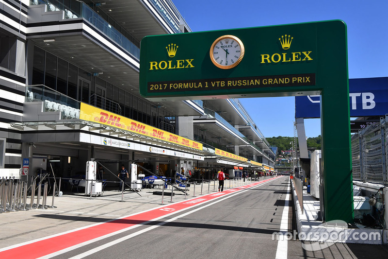 Pit lane and Rolex clock