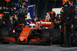 Fernando Alonso, McLaren MCL32, makes a pit stop