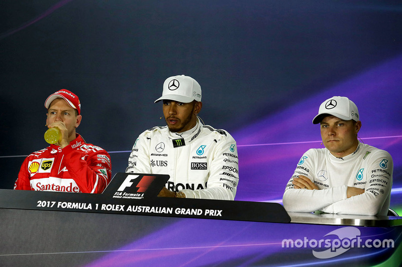 Rueda de prensa: Sebastian Vettel, Ferrari, Lewis Hamilton, Mercedes AMG F1, Valtteri Bottas, Mercedes AMG F1