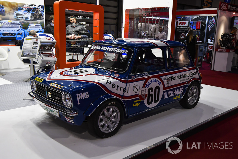 A Mini touring car on display