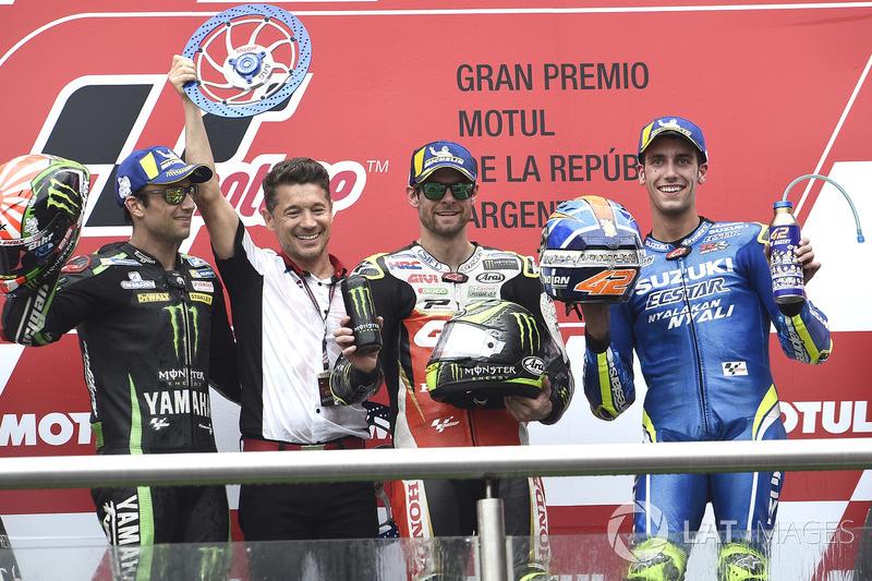 Second place Johann Zarco, Monster Yamaha Tech 3, Race winner Cal Crutchlow, Team LCR Honda, Third p
