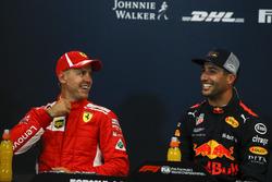 Sebastian Vettel, Ferrari and Daniel Ricciardo, Red Bull Racing in the Press Conference