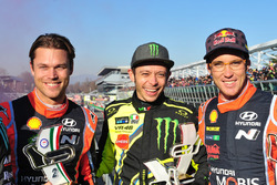 Winner Valentino Rossi, second place Andreas Mikkelsen, Thierry Neuville