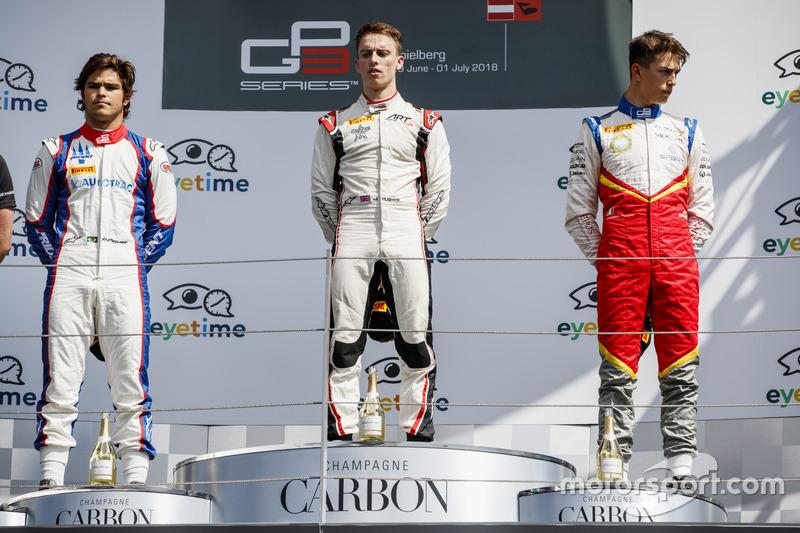 Podio: Pedro Piquet, Trident, Jake Hughes, ART Grand Prix, Leonardo Pulcini, Campos Racing