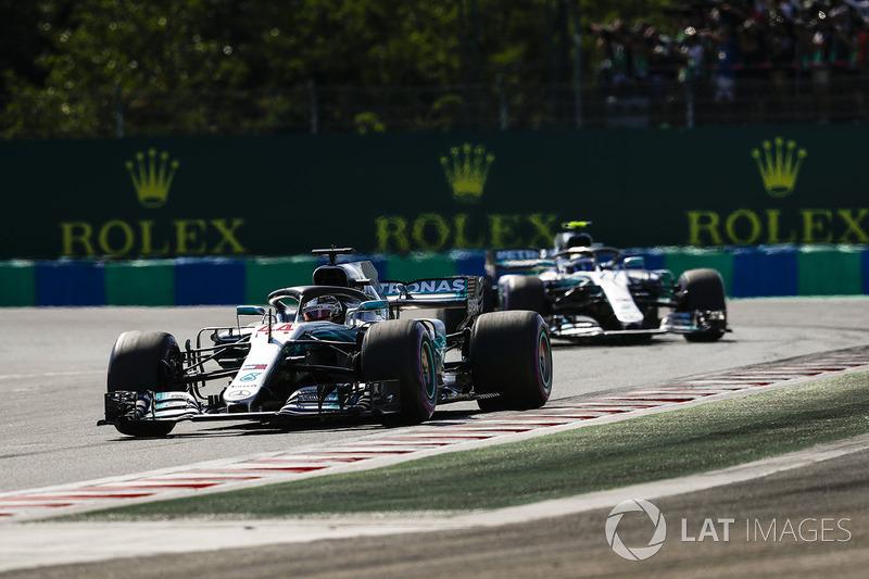 Lewis Hamilton, Mercedes AMG F1 W09, leads Valtteri Bottas, Mercedes AMG F1 W09