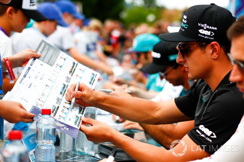 Mitch Evans, Jaguar Racing, signs autographs for fans