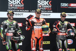 Polesitter Chaz Davies, Aruba.it Racing-Ducati SBK Team, second place Tom Sykes, Kawasaki Racing, third place Jonathan Rea, Kawasaki Racing
