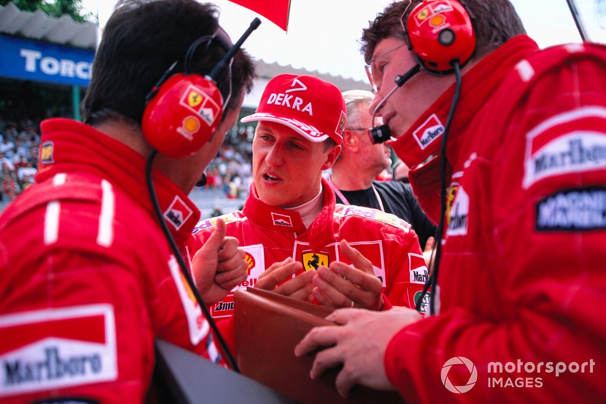 Michael Schumacher, Ferrari with Francesco Barletta and Ross Brawn