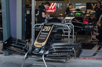 The car of Kevin Magnussen, Haas F1 Team VF-19, in the garage
