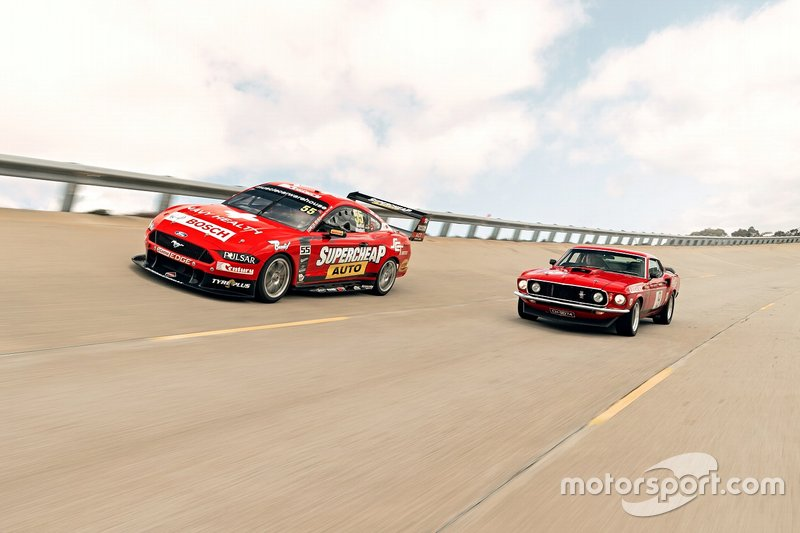Chaz Mostert and James Moffat, Tickford Ford with an old generation Ford Mustang road car
