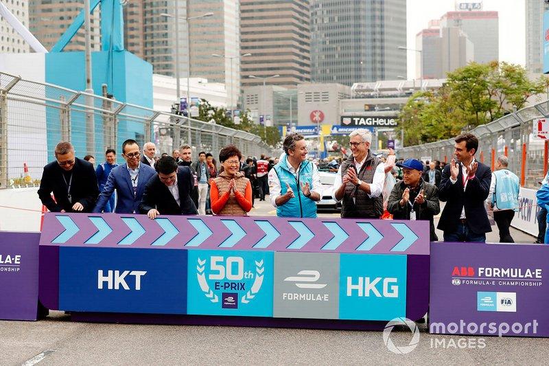 Alejandro Agag, CEO, Formula E, con Ulrich Spiesshofer, CEO, ABB, i promoter della gara di Hong Kong