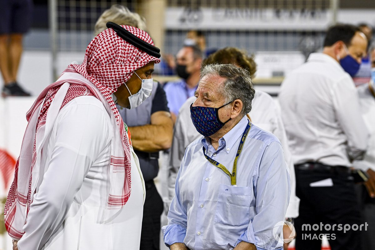 Prince Khalid Bin Sultan Al Faisal, president of the Saudi Arabian motorsport federation, with Jean Todt, President, FIA