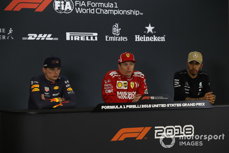 Max Verstappen, Red Bull Racing, Kimi Raikkonen, Ferrari et Lewis Hamilton, Mercedes AMG F1 en conférence de presse