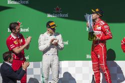 Podyum: Yarış galibi Sebastian Vettel, Ferrari, 2. Valtteri Bottas, Mercedes AMG F1, Giuseppe Vietina, Ferrari
