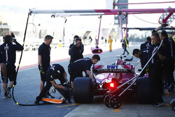 Sergio Perez, Force India, stops in his pit area