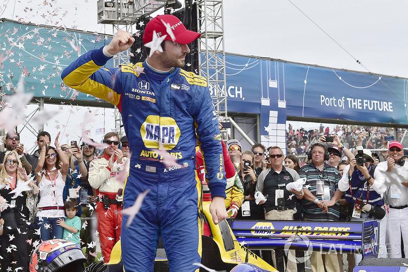Alexander Rossi, Andretti Autosport Honda fête sa victoire sur la Victory Lane