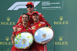 Inaki Rueda, Ferrari Race Strategist, Sebastian Vettel, Ferrari and Kimi Raikkonen, Ferrari celebrate on the podium with the trophies