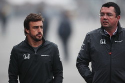 Fernando Alonso, McLaren, with Eric Boullier, Racing Director, McLaren