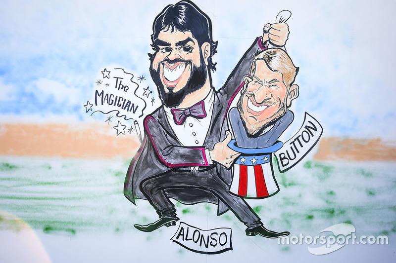 Gran Premio de España: una caricatura sobre Alonso y Button.