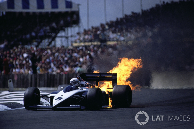 1987 - The BMW motor in Andrea de Cesaris's Brabham blows up