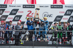 Podium: winners Mike di Meglio, Niccolo Canepa, David Checa, second place Kohta Nozane, Marvin Fritz, Broc Parkes, Max Neukirchner, third place Randy de Puniet, Mathieu Gines, Fabian Foret