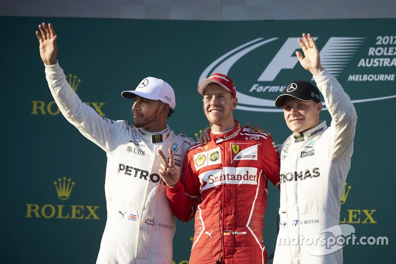 Lewis Hamilton, Mercedes AMG, 2nd Position, Sebastian Vettel, Ferrari, 1st Position, and Valtteri Bottas, Mercedes AMG, 3rd Position, on the podium