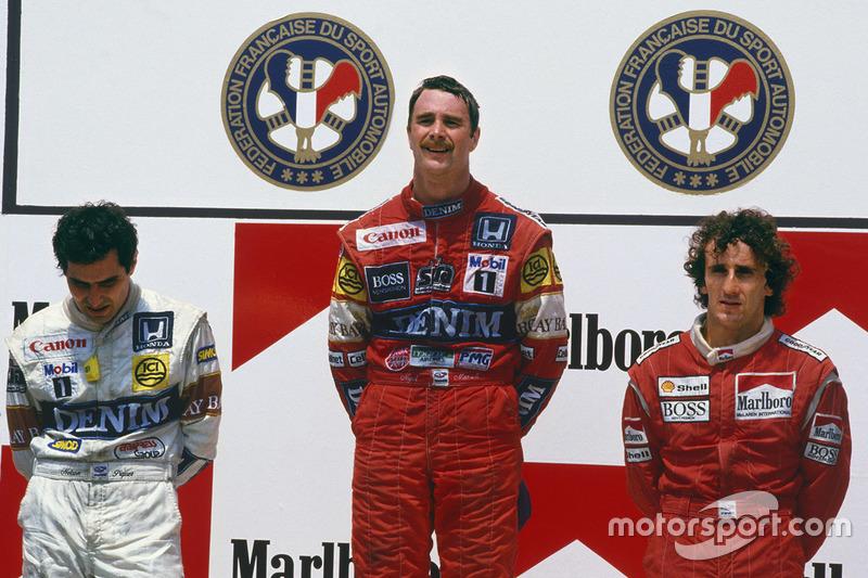 Podium : le vainqueur Nigel Mansell, Williams Honda, le second Nelson Piquet, Williams Honda, le troisième Alain Prost, McLaren TAG Porsche