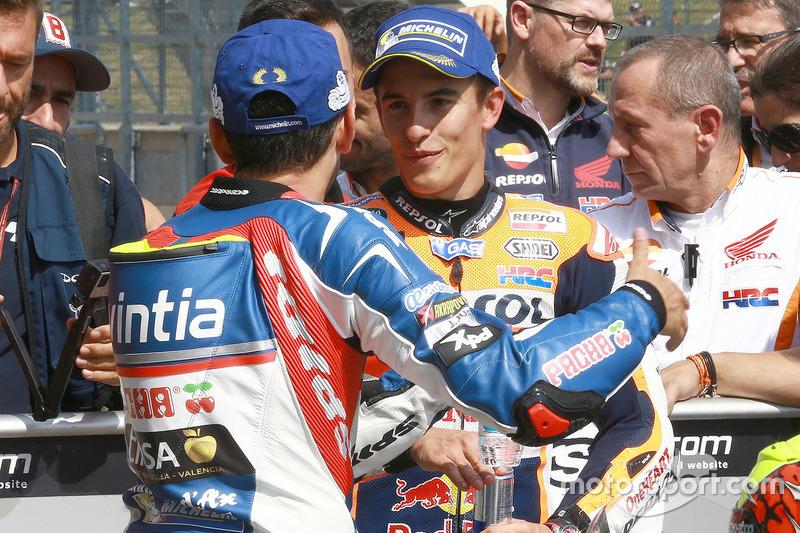 Hector Barbera, Avintia Racing and Marc Marquez, Repsol Honda Team in parc ferme