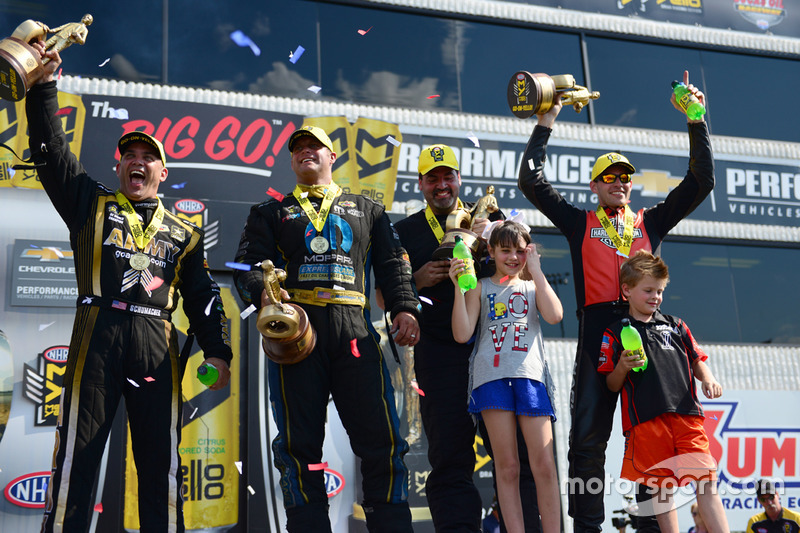 Top Fuel winner Tony Schumacher, Pro Stock winner Chris McGaha, Funny Car winner Matt Hagan, Pro Stock Bike winner Andrew Hines