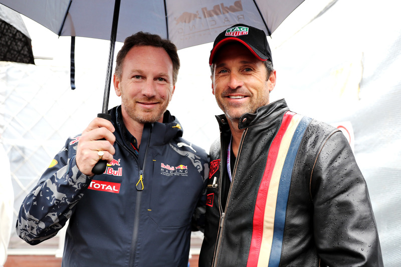 Christian Horner, director del equipo Red Bull Racing y Patrick Dempsey, actor