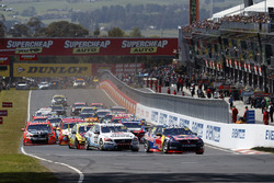 Craig Lowndes, Steven Richards, Triple Eight Race Engineering Holden lead at the start of the race