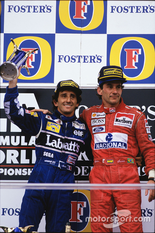 Podium : le vainqueur Ayrton Senna, McLaren; le second Alain Prost, Williams