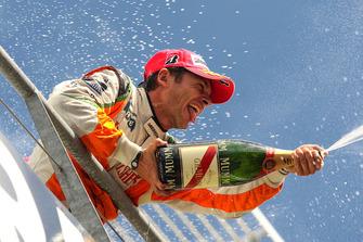 Giancarlo Fisichella, Force India F1 celebrates his second position on the podium