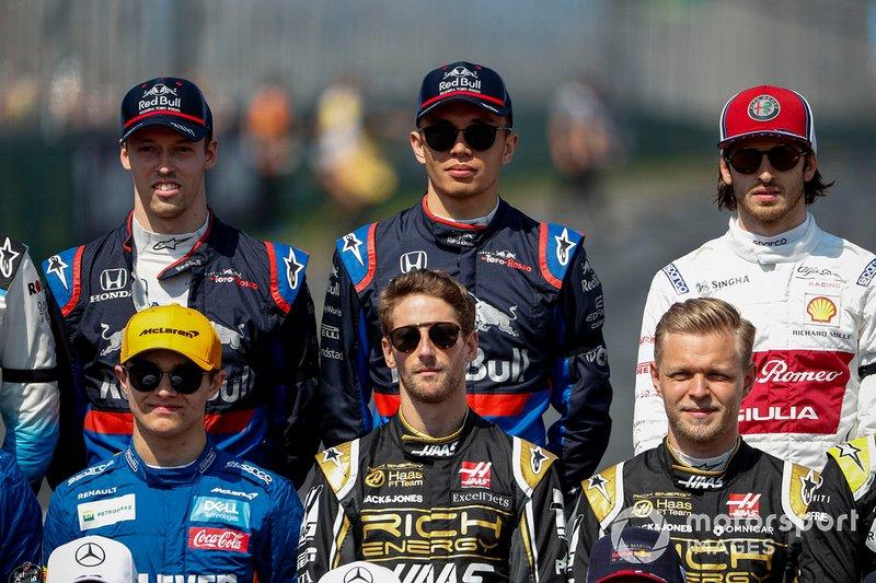 Даниил Квят, Toro Rosso, Александр Элбон, Toro Rosso, Антонио Джовинацци, Alfa Romeo Racing Ландо Норрис, McLaren, Ромен Грожан, Haas F1 и Кевин Магнуссен, Haas F1