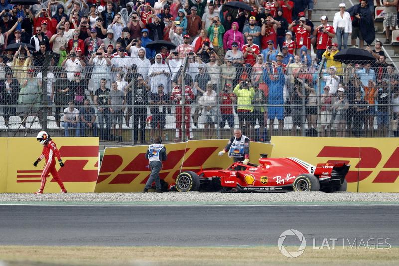 Accident pour Sebastian Vettel; Ferrari SF71H