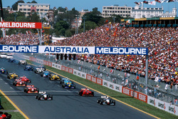 Mika Hakkinen, McLaren Mercedes MP4/13 leads the field away at the start