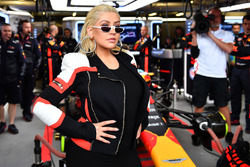 Christina Aguilera, in the Red Bull Racing garage