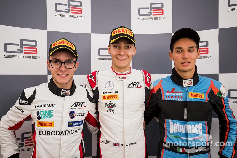 Ganador de la carrera George Russell, ART Grand Prix, segundo lugar Anthoine Hubert, ART Grand Prix, tercer lugar Alessio Lorandi, Jenzer Motorsport