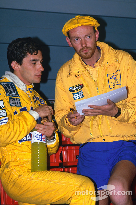 Ayrton Senna, Team Lotus; Steve Hallam, Renningenieur