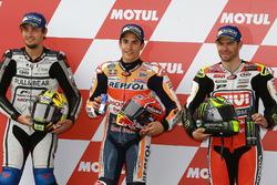Qualifying: second place Karel Abraham, Aspar Racing Team, polesitter Marc Marquez, Repsol Honda Team, third place Cal Crutchlow, Team LCR Honda