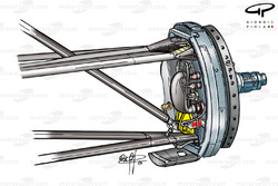 Ferrari F2001 front suspension upright (highlighted in yellow)