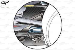 McLaren MP4-25 lowline exhaust solution, used to blow the diffuser